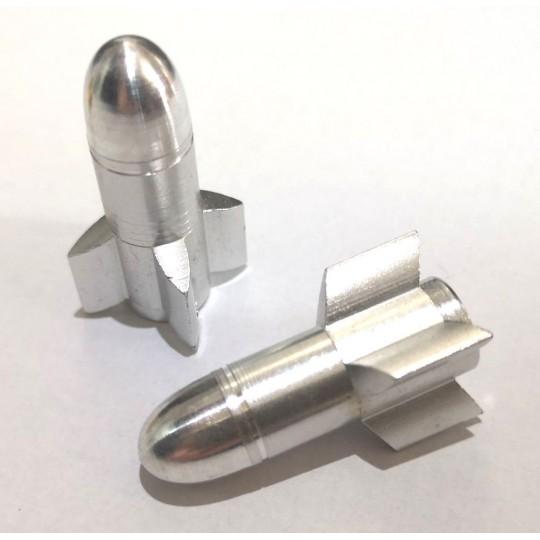 FOURIERS Capac ventil Rocket 2 buc/set Argintiu