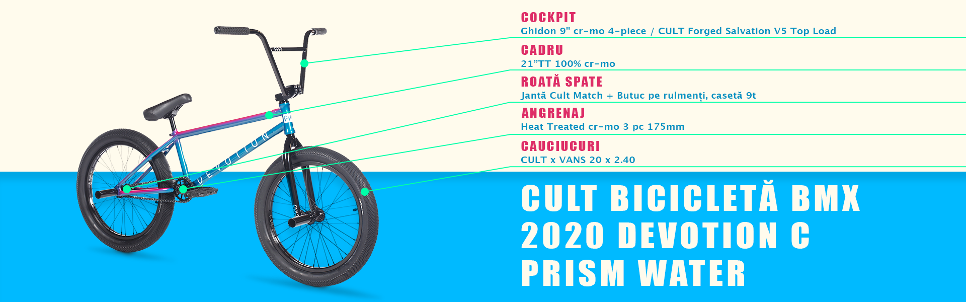 CULT Bicicleta BMX 2020 DEVOTION-C Prism Water